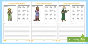 St. David's Day Character Descriptions Writing Activity Sheet - Cennin Pedr, cennin, daffodil, leek, Cymru, Wales, Welsh, Cymraeg, cardiau, cards, traddodiad, tradi
