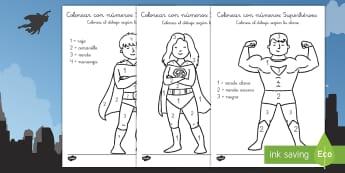 Colorear con números: Superhéroes - colorear con números, colorear, colores, colorea, pintar, números, superhéroes, héroes, súper,