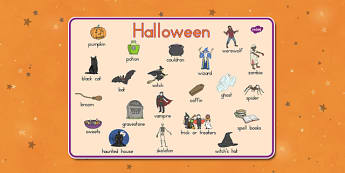 Halloween Vocabulary Mat - ESL Halloween Vocabulary