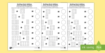 Building Brick Addition Activity Sheet English/Spanish - EAL, Building Brick Addition Activity Sheet - worksheet, add, adding, numeracy, addition, addition t