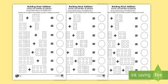 Building Brick Addition Worksheet / Activity Sheet English/Spanish - EAL, Building Brick Addition Worksheet / Activity Sheet - worksheet, add, adding, numeracy, addition, addition t