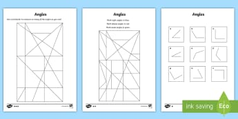 Angles Differentiated Worksheet / Activity Sheets  - cfE, first Level, angles, measuring angles, right angles, obtuse angles, acute angles,Scottish