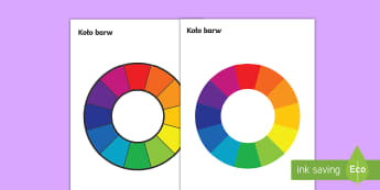 Koło barw - kolory, koło, kolorów, barw, kolor, barwa, zielony, żółty, czerwony, niebieski, podstawowe, cza