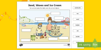 Sand, Waves and Ice Cream Cut and Paste Labelling Activity - aistear, exploring my world, literacy, oral language, drama, play, beach, funfair, carousel, seaside