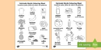 Fairtrade Words Colouring Sheet English/Portuguese - Fairtrade Words Colouring Sheets - fairtrade, colour, colouring, colering, colourng, couloring