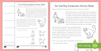 Cat and Dog Comparison Activity Sheet - worksheet, Pets, ELA, Common Core, Kindergarten, Compare, contrast, non-fiction