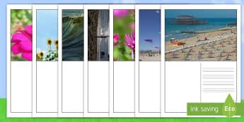 Ficha de actividad: Escribir postales - Verano - escritura, postal, postales, verano, escribir, pautas, guias, lineas, ,Scottish