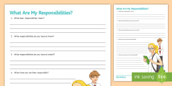 What Are My Responsibilities? Activity Sheet - Behaviour, worksheet, Classroom management, Responsibilities, PSHCE, reflection