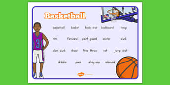Basketball Vocabulary Mat - usa, nba, basketball, national basketball association, vocabulary mat