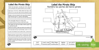 * NEW * Label the Pirate Ship Activity Sheet - English / Spanish  - pirates, galleon, ships, pirate party, jolly roger, worksheet, EAL, ocean, pirate, piracy, ship, nav