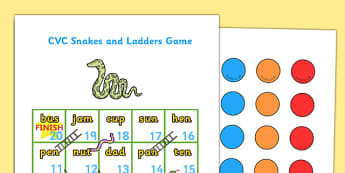 Snakes and Ladders CVC (1-20) - snakes and ladders, 1-20, game, activity, numeracy, maths, calculation, CVC