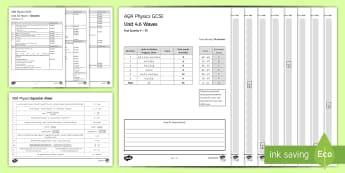 AQA Physics (Trilogy) Unit 4.6 Waves Test- KS4 Assessment, Test, Waves, Electromagnetic, Spectrum, Light, Visible, Transverse, Longitudinal, So