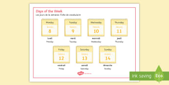 Days of the Week Word Mat French - days, week, jours, jour, semaine, days of the week, journees,French