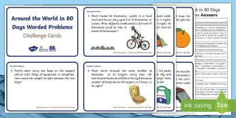 F-2 Around The World In 80 Days Worded Problems Maths Challenge Cards - Mark Beaumont, Around The World In 80 Days, Cycling, Challenge, World Record, Australian Curriculum,