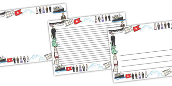 The Titanic Full Page Borders (Landscape) - page border, border, frame, writing frame, writing template, the titanic, history, titanic page borders, titanic writing frames, ship, big ship, writing aid, writing, A4 page, page edge, writing activities,