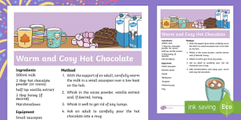 Sparks in the Sky Warm and Cosy Hot Chocolate Recipe - KS1, EYFS, Home learning, Parents, Design and Technology, cocoa, drink