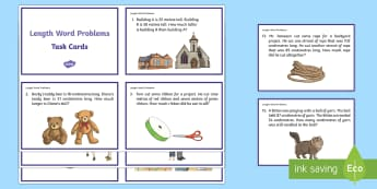 Length Word Problems Task Cards - Common Core, Second Grade, Measurement, Length, centimetres, cm, metres