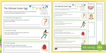 The Ultimate Easter Egg Activity Sheet - Easter, Egg, adjective, adverb, superlative, simile, metaphor, poem, worksheet