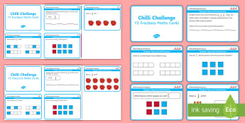 Year 2 Maths Fractions Chilli Challenge Cards - Challenge Cards, Half, Quarter, KS1, Maths Mats