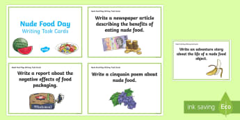 Nude Food Day Writing Challenge Cards - Healthy eating, healthy food, literacy, persuasive, poetry,Australia