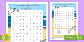 Sopa de letras: Los animales de las costas - animales, clasificación, grupos, hábitats, donde viven,Spanish