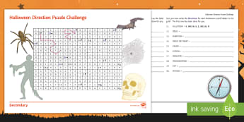 Halloween Direction Puzzle Activity Sheet - Geography, KS3, Direction, compass points, N, E, S, W, map skills, Halloween, worksheet