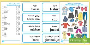 Clothes I Spy Activity Sheet Arabic Translation - Arabic/English - الإنجليزية / العربية - clothing, dress, weather, word cards, vocabulary EAL Arabic,Arabic-translation