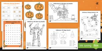 Halloween-Themed Class Maths Resource Pack - mathematics, Oíche Shamhna, Numeracy, October activities, halloween resources