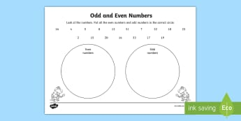 Sorting Odd and Even Numbers within 100 Worksheet / Activity Sheet - Mental Maths, Warm Up, Revision, Northern Ireland, odd, even, sorting, venn diagram, Worksheet