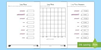 Worms Line Plot Activity - Line plot, measurement, data, fractions, number line