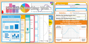 UKS2 Statistics Working Wall Display Pack - maths display, classroom display, interactive display, handling data, data collection, line graph, t