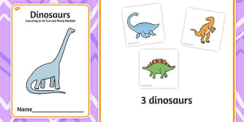 Dinosaurs Counting to 10 Cut and Paste Booklet - count, cutting