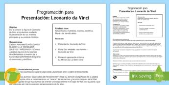 Programación: Leonardo da Vinci - Renacimiento, Renaissance, inventor, inventions, científico, scientist, quinto curso primaria, 5º