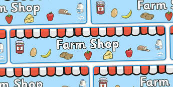 Farm Shop Display Banner (Scene) - Farm shop display, banner, poster, shop, farm, pig, cow, chicken, goat, tractor, farmer, chicken, goat, sheep, hay, milk, eggs