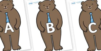 A-Z Alphabet on Daddy Bear - A-Z, A4, display, Alphabet frieze, Display letters, Letter posters, A-Z letters, Alphabet flashcards