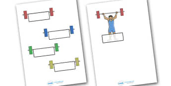 The Olympics Weightlifting Self-Registration - weightlifting, lifting, weights, Olympics, Olympic Games, sports, Olympic, Self registration, register, editable, labels, registration, child name label, printable labels, London, 2012, activity, Olympic
