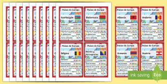 European Countries Card Game Spanish - spanish, cards, countries, european
