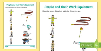 People and their Work Equipment Matching Activity Sheet-Irish, worksheet