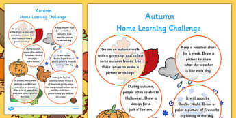 Autumn Home Learning Challenge Sheet Reception FS2 - homework, term 1, early years, activity, games, worksheet, reception