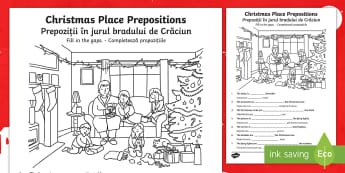 Christmas Place Prepositions Fill in the Gaps Activity Sheet English/Romanian - Christmas, prepositions, worksheet, activity sheet, EAL, under, above, on, next to