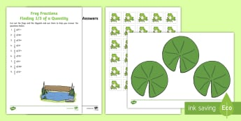 Frog Fractions Finding a Third of a Quantity Worksheet / Activity Sheet - thirds, worksheet, number, sharing, 1/3, dividing, 3, Scottish