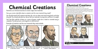Chemical Creations Activity Sheet - irreversible, change, reaction, material, scientist, worksheet