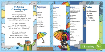 Weather Songs and Rhymes Resource Pack - Weather, Meteorology, sunny, raining, rainy, cloudy, clouds, singing, song time