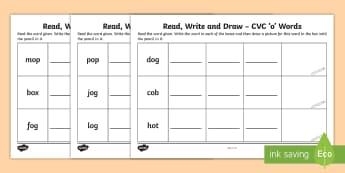 Read, Write and Draw CVC 'o' Words Activity Sheet - Phonics, Initial Sounds, Blending, Sounding out, Assessment,Irish, Worksheet