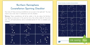 Northern Hemisphere Constellation Spotting Checklist  - stars, constellations, checklist