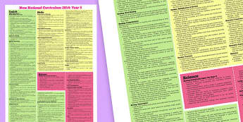 New 2014 Curriculum Maths English and Science Poster Year 5 - maths, english, science, poster