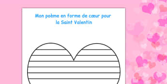 Valentine's Day Shape Poetry Template - saint, valentin, celebrations, events, France,festivals, festivities