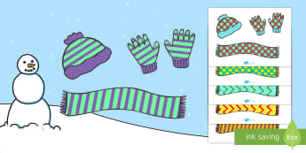 Patterned Winter Clothing - winter, clothing, scarf, A4, poster, activity, sorting, patterns, cut outs, gloves, hat