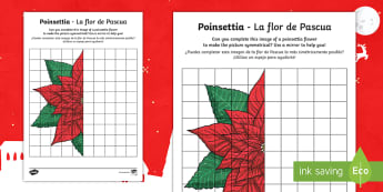 * NEW * KS2 Poinsettia Activity Sheet - English / Spanish  - EAL,christmas, flower, tradition, traditional, mexico, maths, symmetry, reflection, worksheet,Spanis