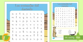 Sopa de letras: Los animales del desierto - animales, grupos, clasificación, donde viven,  hábitats